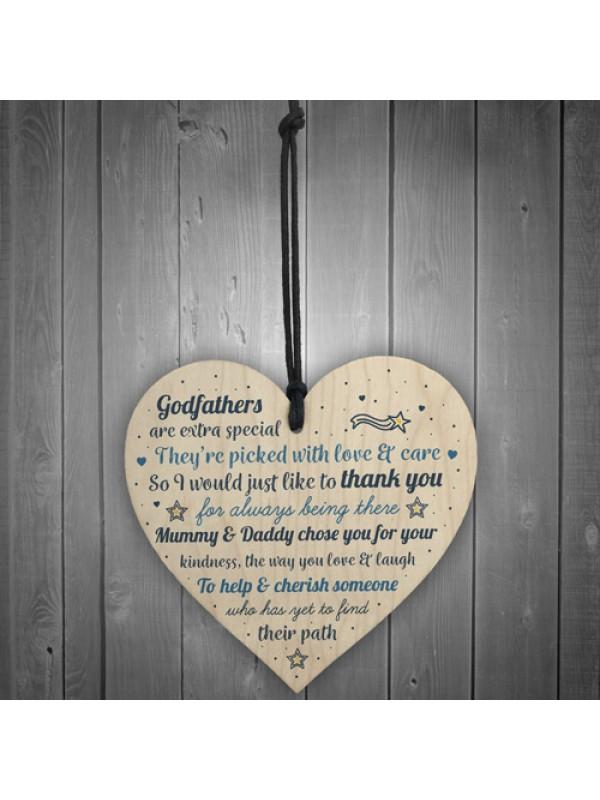 Godparents Wood Heart Godmother Godfathe Gift Christening Card