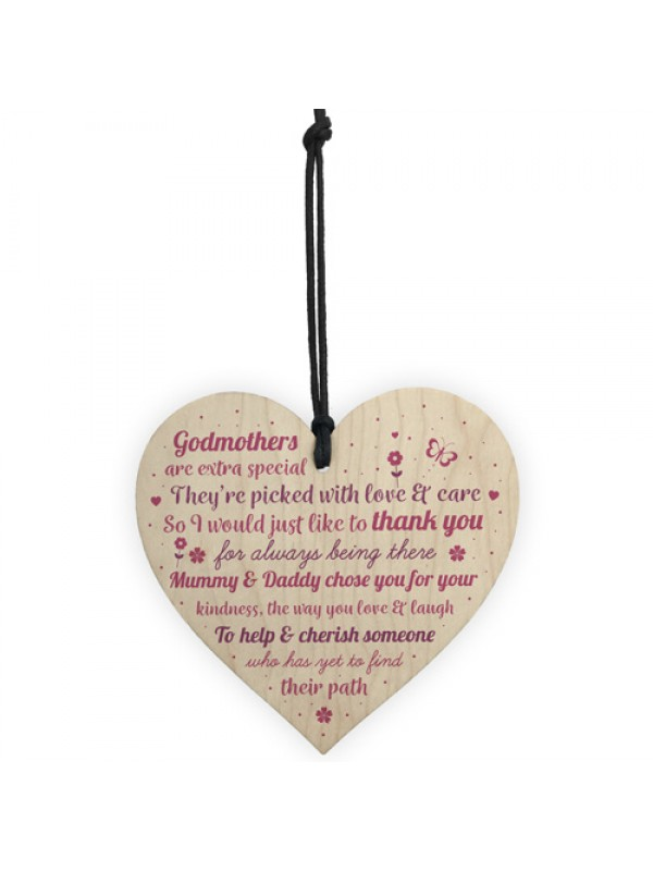 Thank You Godparents Heart Godmother Godfather Christening Card