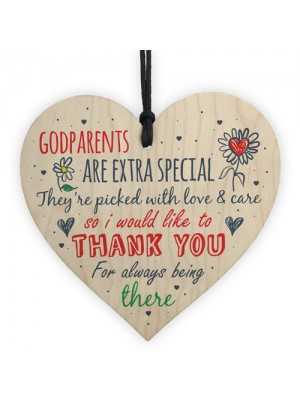 Godparent Godmother Godfather Gift Handmade Wooden Heart Plaque