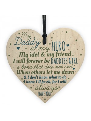 Daddies Girl Daddy Dad Gift Wood Heart Fathers Day Gift For Him