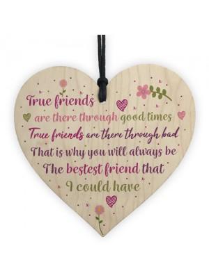Best Friend Friendship Sign Wood Heart Plaque Birthday Gift