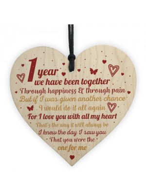 Anniversary 1st Wedding Engagement Wood Heart Plaque Gifts
