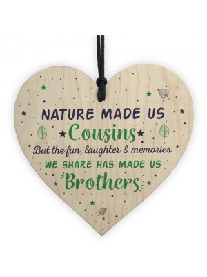 Cousins Brother Gifts Wooden Heart Plaque Family Friendship Gift