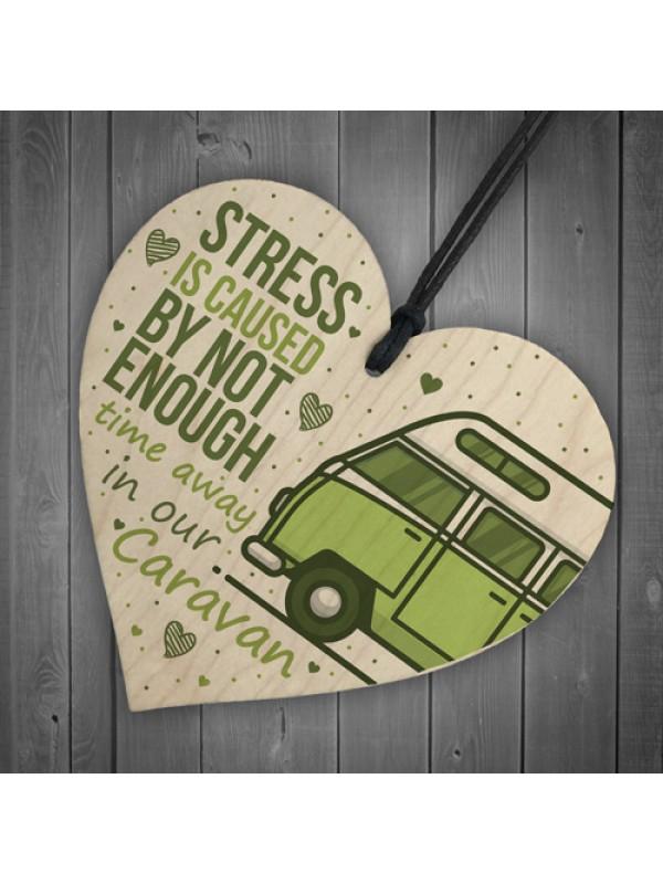Novelty Caravan Sign Wood Heart Funny Plaque Home Door Gifts