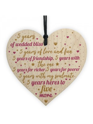 5th Wedding Anniversary 5 Year Gift Wooden Heart First Wedding