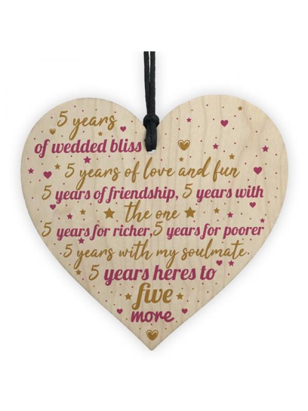 5th Wedding Anniversary 5 Year Gift Wooden Heart First Wedding