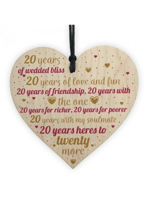 20th Wedding Anniversary 20 Year Gift Wooden Heart First Wedding