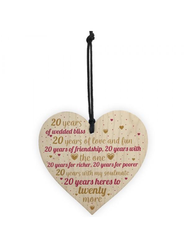 20th Wedding Anniversary 20 Year Gift Wooden Heart First Wedding