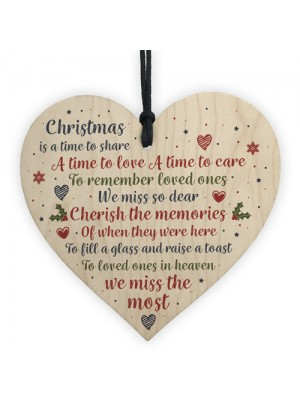 Christmas Tree Decoration Memorial Wooden Heart Plaque Gifts