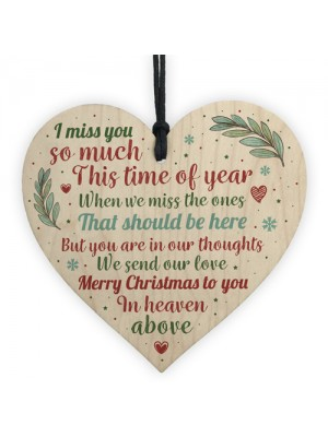 Memorial Christmas Tree Decoration Wooden Heart Plaque Gifts