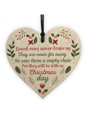 In Memory Memorial Christmas Tree Decoration Wood Heart Sign