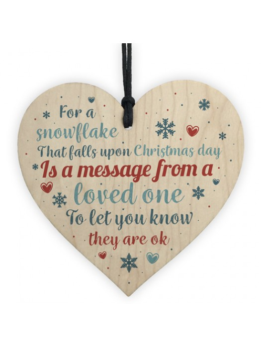 Memorial Christmas Tree Decoration Wooden Hanging Heart Plaque