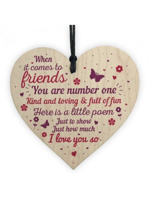 Friendship Wood Heart Plaque Gift Best Friend Thank You Keepsake