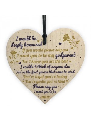 Godparent Wooden Heart Sign Keepsake Thank You Gift Christening