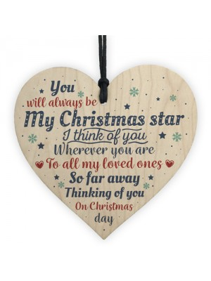 Christmas Memorial Tree Decoration Wooden Heart Sign Family
