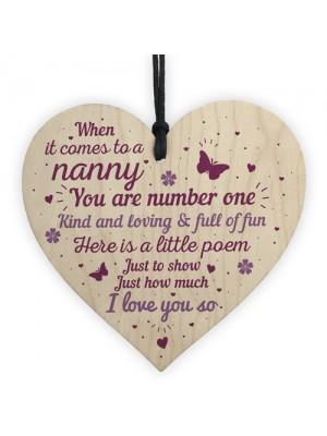 Gift For Nanny Grandma Wooden Heart Plaque Birthday Christmas