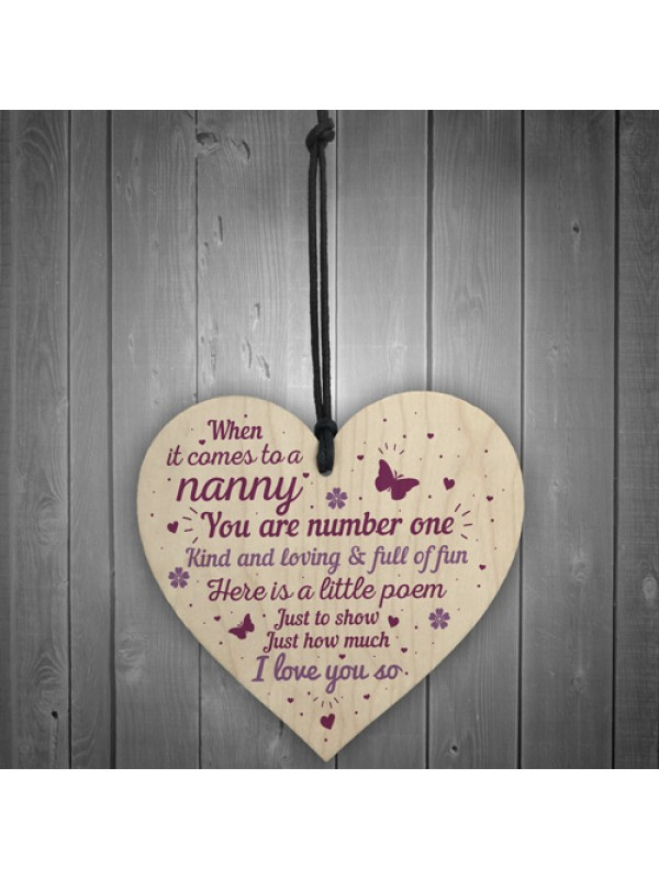Gift For Nanny Grandma Wooden Heart Plaque Birthday Christmas