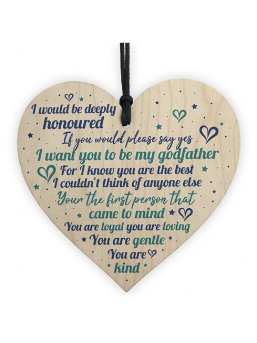 Godfather Wooden Heart Sign Keepsake Thank You Gift Christening