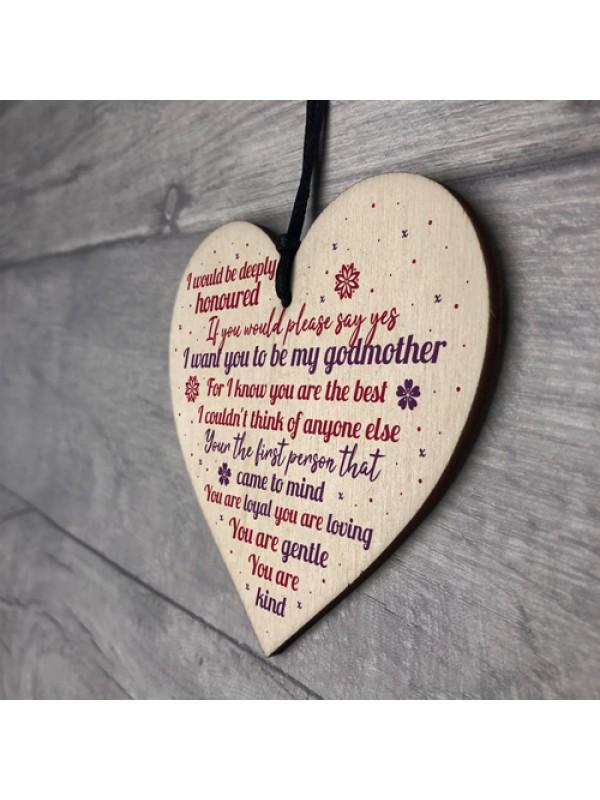 Godmother Wooden Heart Keepsake Thank You Gift Christening