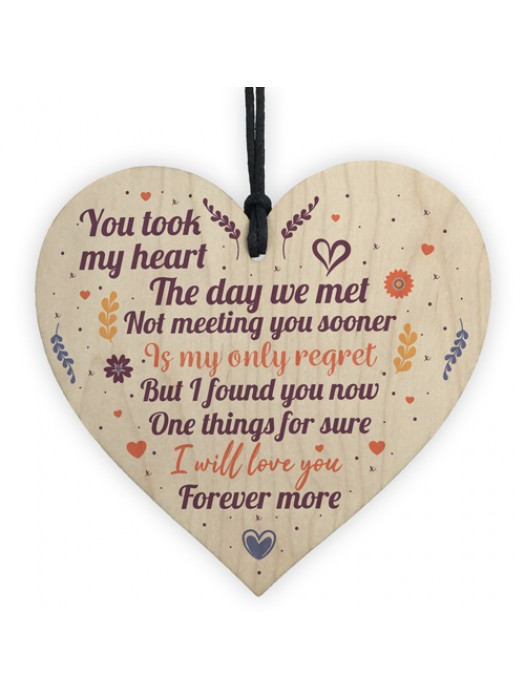 Wedding Anniversary Valentines Wooden Heart Sign Wedding Gifts