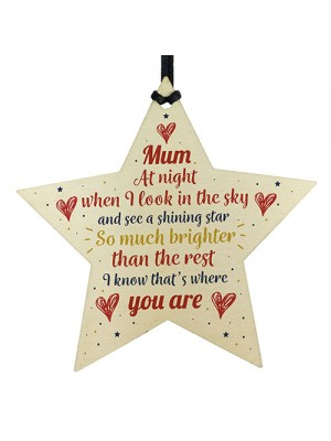Wooden Star Christmas Tree Bauble Rememberance Plaque Family