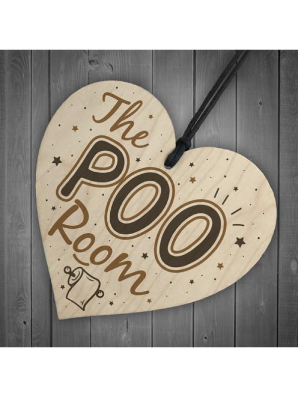 Bathroom Toilet Sign The Poo Room Funny Chic Hanging Door Plaque