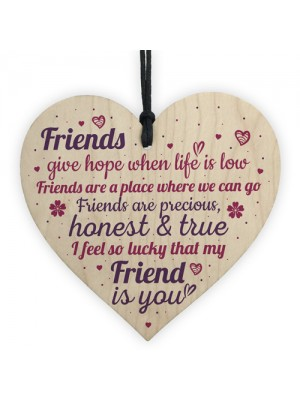 Friendship Sign Handmade Wooden Heart Sign Best Friend Gift