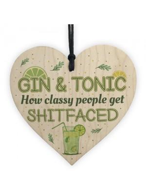 Handmade Wooden Heart Plaque Gift For Gin Lovers Funn Birthday