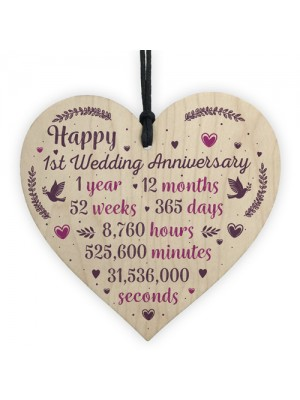 Handmade Wood Heart Plaque 1st Wedding Anniversary Gift For Her