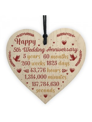 Handmade Wood Heart Plaque 5th Wedding Anniversary Gift For Her
