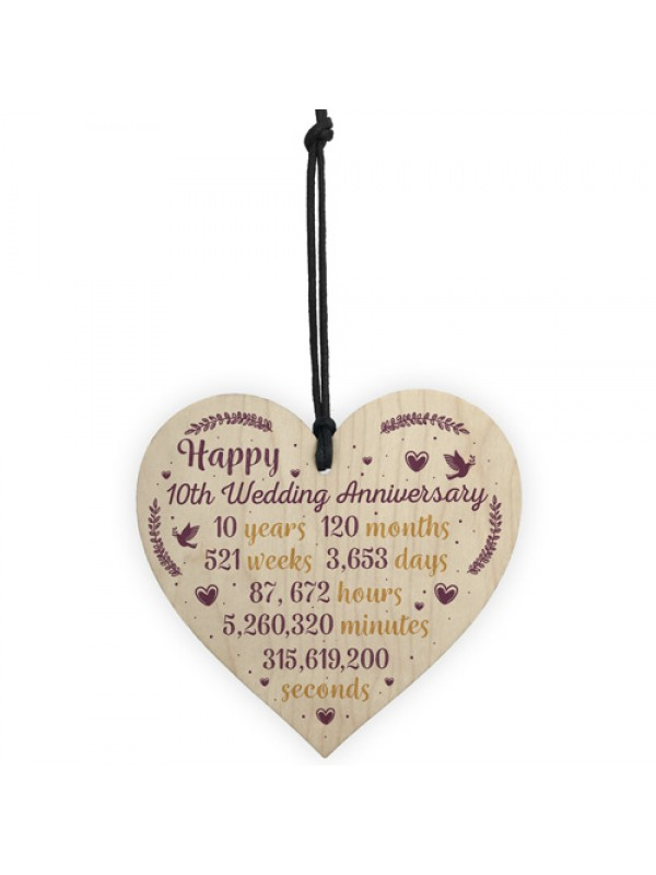 Handmade Wood Heart Plaque 10th Wedding Anniversary Gift For Her