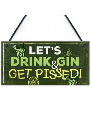 Funny Gin Sign Gift For Gin Lovers Alcohol Man Cave Bar Plaque