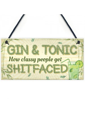 Gin & Tonic Gift For Gin Lovers Hanging Alcohol Kitchen Plaque