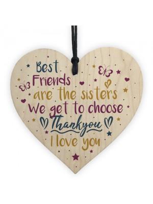Best Friend Sister Friendship Gifts Wooden Heart Birthday Plaque