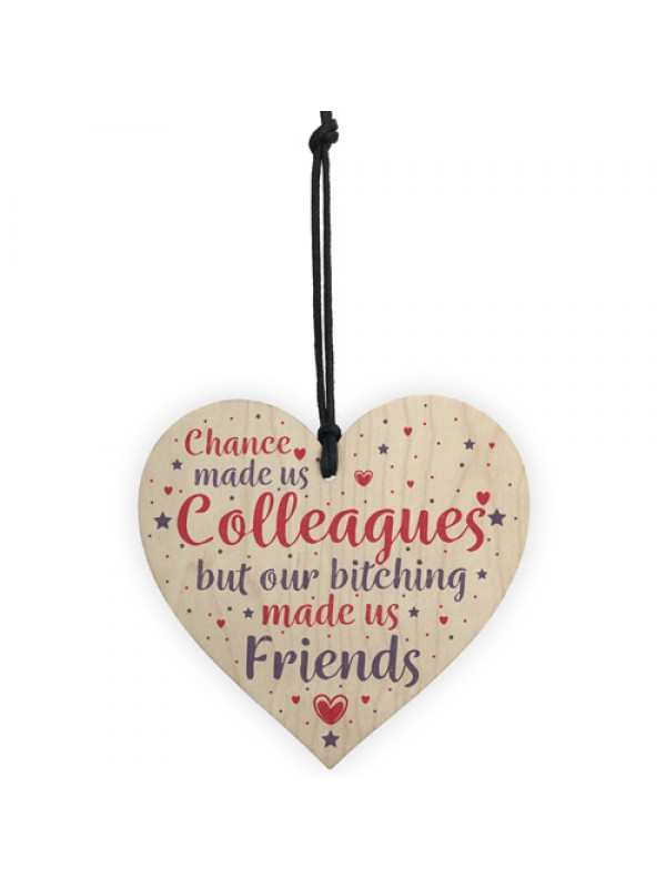 Colleague Work Leaving Gift Wood Heart Plaque Friendship Friend