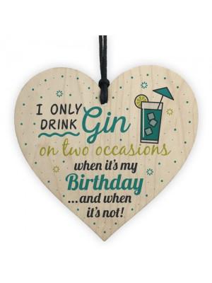 Handmade Gift For Gin Lovers Wood Heart Sign Gin Birthday Gift