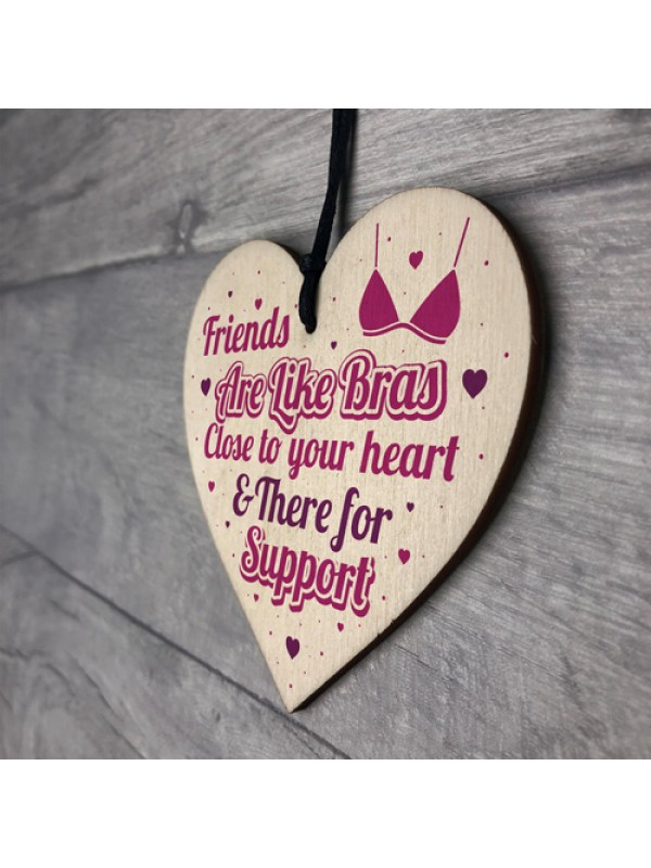 Funny Friendship Thank You Gift Wooden Heart Sign Best Friend