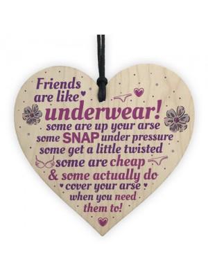 Novelty Handmade Friendship Gift Funny Wood Heart Sign Birthday