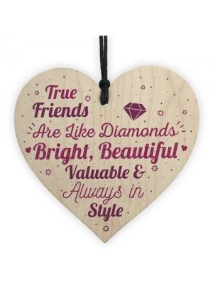 True Friends Friendship Gift Handmade Wooden Heart Birthday Gift
