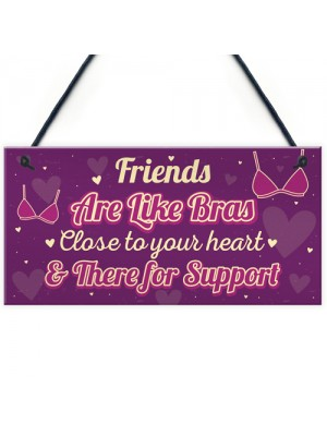 Funny Friends Are Like Bras Novelty Best Friend Sign THANK YOU