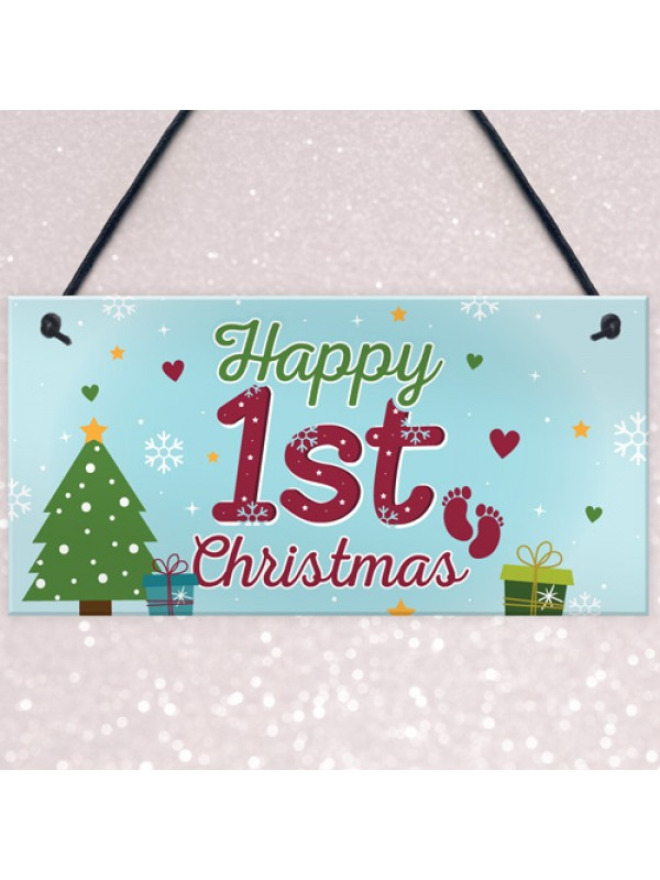 Happy 1st First Christmas Hanging Sign Tree Decoration Bauble