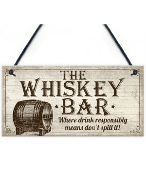 Vintage Whisky Bar Plaque Sign Home Bar Pub Man Cave Birthday