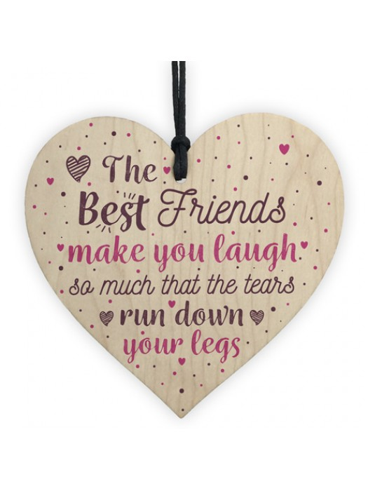 Funny BEST FRIEND Gifts Shabby Chic Wood Heart Friendship Plaque