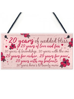 20th Wedding Anniversary Card Gift For Husband Wife Twenty Year