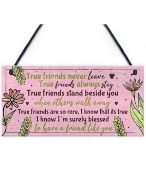 True Friend Friendship Quote Best Friend Hanging Plaque Birthday