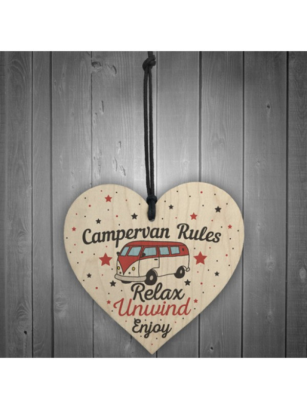 Hanging Funny Campervan Rules Heart Plaque Welcome Sign Gift