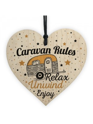 Hanging Funny Caravan Rules Sign Heart Plaque Welcome Sign