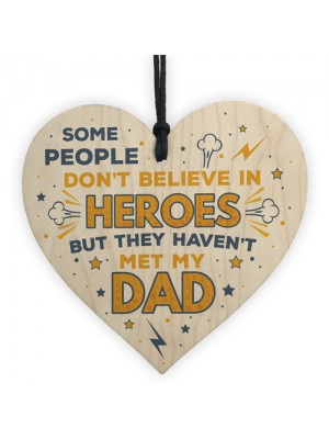 SUPERHERO Dad Gift Birthday Christmas Gifts Wooden Heart Plaque