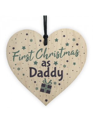 First 1st Christmas As Daddy Tree Decoration Bauble Wooden Heart