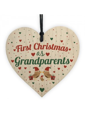 First 1st Christmas As Grandparents Tree Decoration Bauble Wood